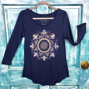 Lucky Brand Tops - Lucky Brand Long Sleeve Tee/ Navy/Gold Mandala/XS
